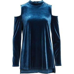 Luxe Ceramic Blue Cold Shoulder Top
